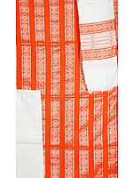 Orange Bomkai Salwar Suit Fabric from Orissa with Konark Wheel Woven by Hand