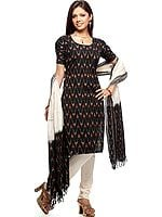 Black Salwar Kameez  with Ikat Weave