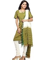Green Salwar Kameez from Hyderabad with Ikat Weave