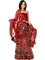 Bridal Red Lehenga Choli with Hand-Embroidered Paisleys and Zardozi Work