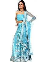 Sky-Blue Bridal Lehenga Choli with Hand-Embroidered Beads and Sequins