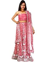 Pink Bridal Lehenga Choli with Hand-Embroidered Beads and Sequins