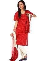 Red and Ivory Salwar Kameez Fabric from Pochampally with Ikat Weave
