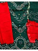 Green and Red Bandhani Tie-Dye Suit from Gujarat