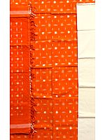 Burnt-Orange Salwar Kameez Fabric from Pochampally with Ikat Weave