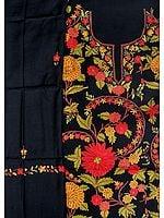 Jet-Black Salwar Kameez Fabric from Kashmir with Ari Hand-Embroidered Flowers