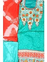 Turquoise Designer Salwar kameez Fabric with Patch Embroidered Neck and Border