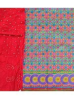 Salwar Kameez Fabric from Gujarat with Dense Embroidery and Bandhani Dupatta