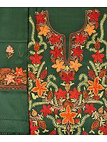 Myrtle-Green Salwar Kameez Fabric from Kashmir with Ari-Embroidered Flowers