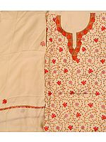 Alabaster-Gleam Salwar Kameez Fabric from Kashmir with Sozni Hand-Embroidered Maple Leaves