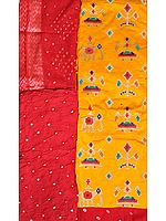 Marigold and Red Salwar Kameez Fabric from Gujarat with Embroidered Ikat Motifs and Bandhani Print
