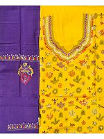 Yellow and Purple Salwar Kameez Fabric from Kolkata with Kantha Hand-Embroidery