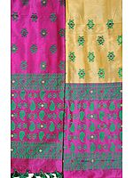 Italian-Straw and Rosebud Kameez Fabric with Dupatta from Assam with Woven Bootis and Paisleys (Two Piece)