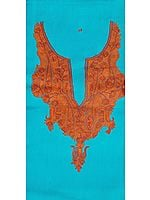 Hawaiian-Ocean Plain Two-Piece Salwar Kameez Fabric from Kashmir with Ari Hand-Embroidered Neck