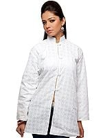 White Jacket with Lukhnavi Chikan Embroidery