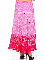 Pink Shaded Bandhani Skirt