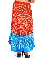 Rust and Blue Shaded Bandhani Skirt