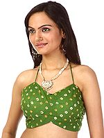 Bandhani Tie-Dye Green Bollywood Choli