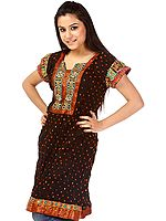 Black Bandhani Tie-Dye Kurti from Gujarat with Applique Work
