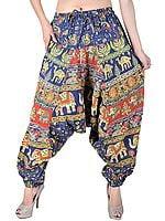 Navy-Blue Sanganeri Printed Harem Pants