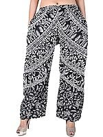 Ivory And Black Casual Trousers With Printed Elephants And Camels