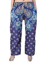 Navy-Blue Yoga Trousers with Jodhpuri Print