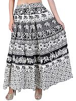Ivory and Black Long Skirt with Printed Elephants