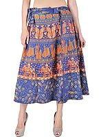 Navy-blue Sanganeri Wrap-On Midi Skirt with Printed Elephants and Peacocks