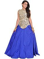 Silver and Blue Nargis Sheesha Gown with Solid Ghagra