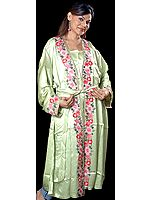 Tea Green Gown from Kashmir with Crewel-Embroidered Flowers