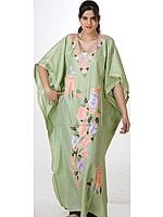 Tea-Green Kashmiri Kaftan with Embroidered Tulips