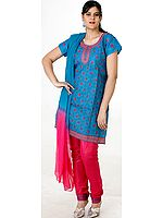 Turquoise and Fuchsia Choodidaar Suit with All-Over Embroidery