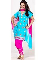 Turquoise and Magenta Choodidaar Suit with Crystals and Mirrors