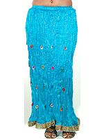 Turquoise Crushed Skirt with Bells and Gota Border