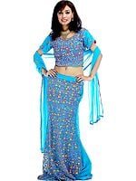 Turquoise Lehenga Choli with Persian Embroidery and Sequins