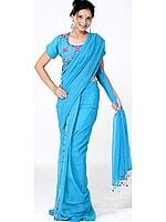 Turquoise Readymade Sari with Sequins and Beadwork