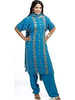Turquoise Salwar Kameez with Floral Embroidery All-Over