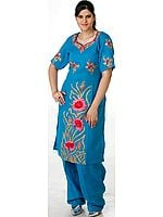 Turquoise Two-Piece Kashmiri Salwar Kameez with Ari Embroidery