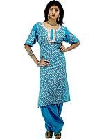 Turquoise Two-Piece Paisley Kashmiri Salwar Kameez with All-Over Ari Embroidery
