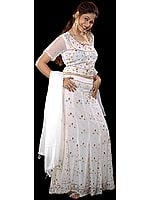 White Bridal Lehenga Choli with Beadwork and Sequins