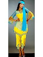 Yellow and Turquoise Capri Suit with Beads and Sequins