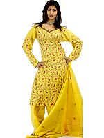 Yellow Needle Embroidered Salwar Suit with Shawl
