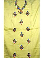 Yellow Two-Piece Suit from Kashmir with Embroidered Bootis
