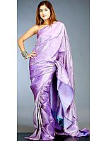Amethyst Jamawar Brocaded Bridal Sari from Banaras