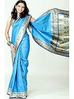 Azure Blue Satin Valkalam Sari with Floral Brocaded Border and Pallu