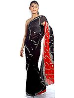 Black and Red Mumtaz Sari with All-Over Sequins