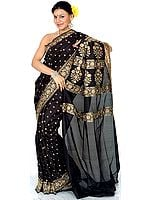 Black Jamdani Sari from Banaras with All-Over Embroidered Beads