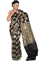 Black Jamdani Sari from Banaras with All-Over Flowers Woven in Jute and Zari