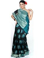 Black Jamdani Sari from Banaras with All-Over Large Woven Flowers