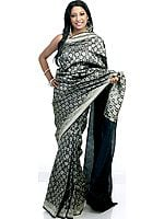 Black Jamdani Sari Hand-Woven with Surreal Bootis in Golden Thread